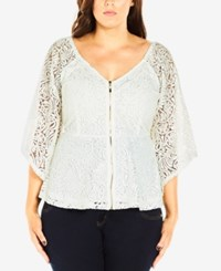 City Chic Plus Size Kimono Sleeve Lace Top Ivory