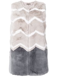 N.Peal Patterned Gilet Nude And Neutrals