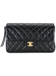 Chanel Vintage Quilted Cc Chain Backpack Black