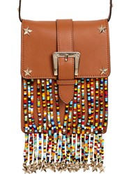 Red Valentino Leather Shoulder Bag W Beaded Fringe