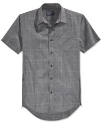 American Rag Men's Elongated Windowpane Short Sleeve Shirt Only At Macy's Grey