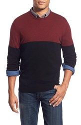 Men's 1901 Colorblock Knit Merino Wool And Cashmere Sweater Red Oxblood
