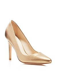 Cole Haan Emery Metallic Pointed Toe Pumps Gold