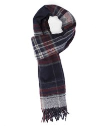 Gant Blue And Burgundy Tartan Wool Scarf
