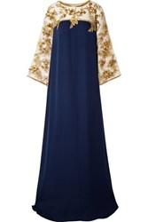 Marchesa Embellished Tulle Trimmed Silk Gown Navy