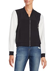 Two Tone Bomber Jacket Black White
