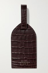 Smythson Mara Croc Effect Leather Luggage Tag Merlot