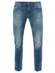 Dolce And Gabbana Logo Embroidered Distressed Slim Leg Jeans Blue
