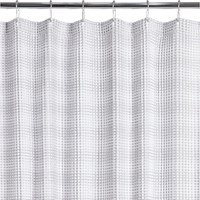 White Waffle Weave Shower Curtain