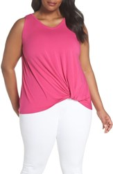 Sejour Plus Size Twisted Waist Tank Top Pink Berry