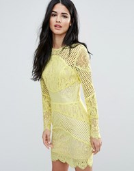 Forever Unique Block Lace Mini Bodycon Dress Yellow