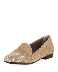 Sesto Meucci Norrie Embellished Woven Loafer Light Taupe