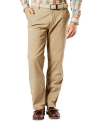 Dockers Men's Big And Tall Classic Fit Stretch Washed Khaki Flat Front Pants New British Khaki