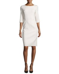 Carolina Herrera 3 4 Sleeve Round Neck Sheath Dress White Ivory