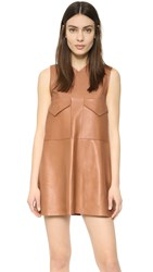 Aeron Leather Shift Dress Light Brown