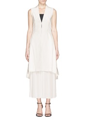 Alice Olivia 'Ronda' Collared Pleat Long Vest White