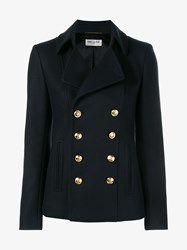 Saint Laurent Double Breasted Wool Pea Coat Navy Metallic Gold