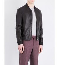 Gieves And Hawkes Leather Bomber Jacket Dk Brown