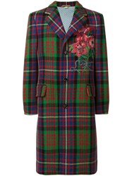 Gucci Floral Embroidered Checked Coat Silk Polyester Polypropylene Wool