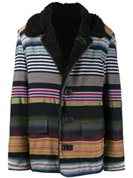 James Long Striped Boxy Coat Black