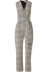 L'agence Julia Prince Of Wales Checked Silk Crepe Jumpsuit Black