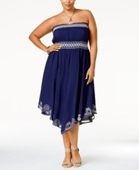 American Rag Plus Size Strapless Embroidered Dress Only At Macy's Blue