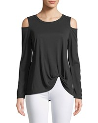 Casual Couture Knot Front Cold Shoulder Tee Charcoal