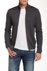 Dkny Woven Full Zip Sweater Gray