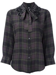Marc Jacobs Embellished Collar Check Shirt Green