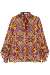 Etro Ruffled Printed Silk Crepon Blouse Yellow