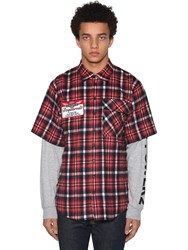 Dsquared Check Flannel Ss Shirt W Jersey Sleeves Multicolor