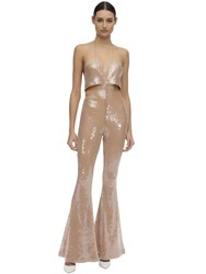 Filles A Papa Sequined Jumpsuit W Cutout Nude