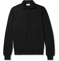 Brioni Wool Half Zip Sweater Black