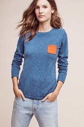 Anthropologie Cashmere Pocket Pullover Blue Motif