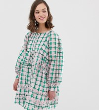 Sister Jane Oversized Smock Dress With Ruffle Detail In Grid Check Pink