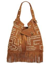 Sam Edelman Emily Studded Bucket Bag Cognac