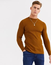 New Look Ribbed Muscle Fit Jumper In Black