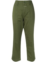 Closed Cropped Trousers Green