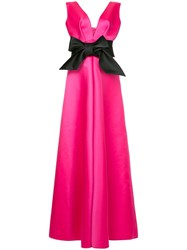 Dice Kayek Plunge Neck Bow Front Gown Pink