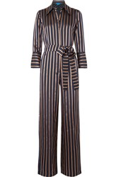 Mih Jeans M.I.H Dexy Belted Striped Jacquard Jumpsuit Navy