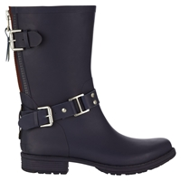 Jigsaw Short Biker Wellington Boots Navy