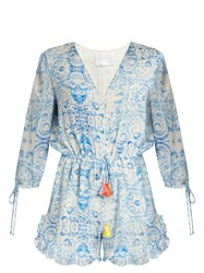 Athena Procopiou The Midsummer's Sky Silk Playsuit Blue White