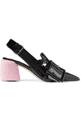 Miu Miu Shearling Trimmed Patent Leather Slingback Pumps Black