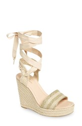Kate Spade Women's New York Delano Wedge Sandal Gold Natural Glitter