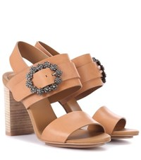 See By Chloe Embellished Leather Sandals Brown