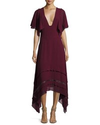 Derek Lam V Neck Silk Georgette Midi Dress Wine
