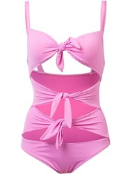 Moschino Tie Front Swimsuit Pink Purple