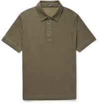 Berluti Cotton And Silk Blend Pique Polo Shirt Green