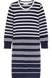 Equipment Marta Striped Silk And Cashmere Blend Sweater Dress Navy