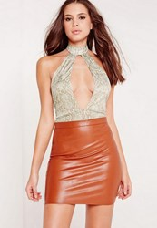 Missguided Tall Choker Neck Plunge Snake Print Bodysuit Tan